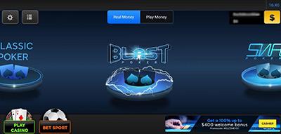 Переход в лобби рума 888poker в браузере с телефона.