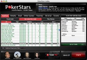 Лобби покер рума на деньги PokerStars